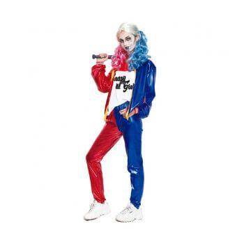 Disfraz de Harley Quinn para mujer (camiseta, chaqueta y pantalón)