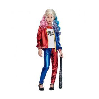 Disfraz de Harley Quinn para niña (camiseta, chaqueta y pantalón)