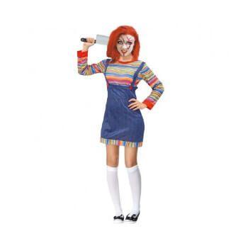 Disfraz de mujer de muñeca asesina (solo camiseta y peto)