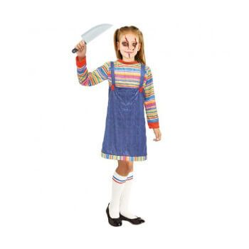 Disfraz de niña de muñeca asesina (solo camiseta y peto)
