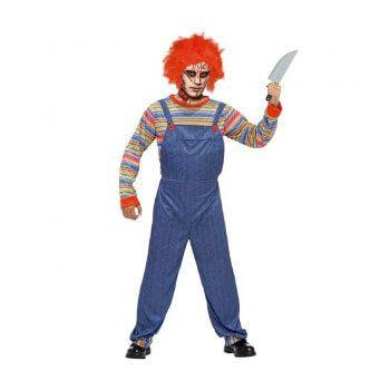 Disfraz de hombre de muñeco asesino (solo camiseta y peto)