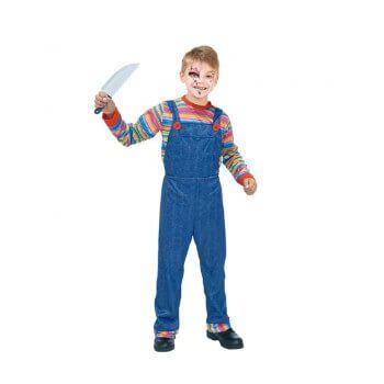 Disfraz de niño de muñeco asesino (solo camiseta y peto)