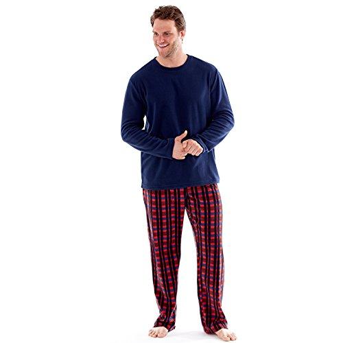 hombre polar suave ropa Cómoda Pijama Largo Manga Larga Invierno Cómodo Microfleece Azul Marino, Rojo & Azul M L XL 2x - Azul Marino/Rojo, Large