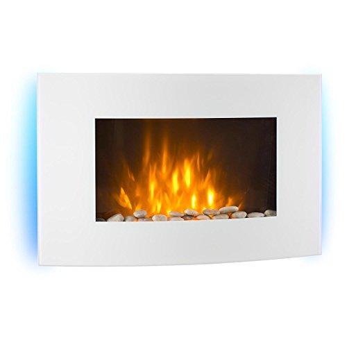 Klarstein Lausanne • Chimenea eléctrica horizontal de pared • Rendimiento de 1000 o 2000 W • calefactor eléctrico • ilusión llamas • instalación pared • mando • blanco