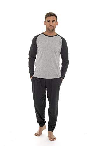 Pijama Hombre Invierno Sudadera Gimnasio Varios Colores 100% Algodón Mangas Largas Set Suave Cómodo Ropa de Dormir (Gris Claro Oscuro, XL)