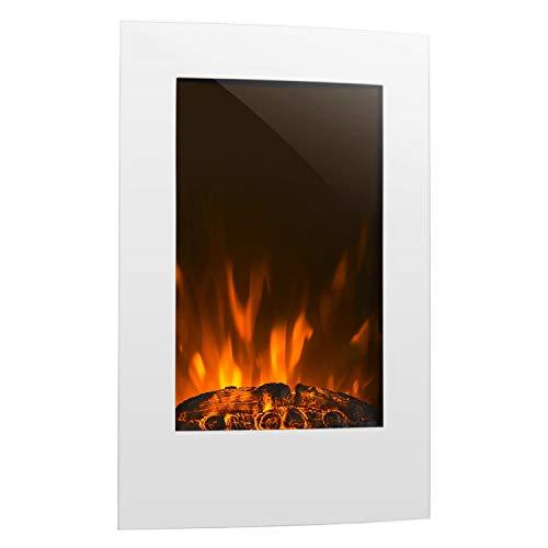 Klarstein Lausanne Vertical • Chimenea eléctrica • Chimenea electrónica • Función calefactora • 1000 o 2000 W de Potencia • Vidrio • Llama simulada • Montada en la Pared • Mando a Distancia • Blanco
