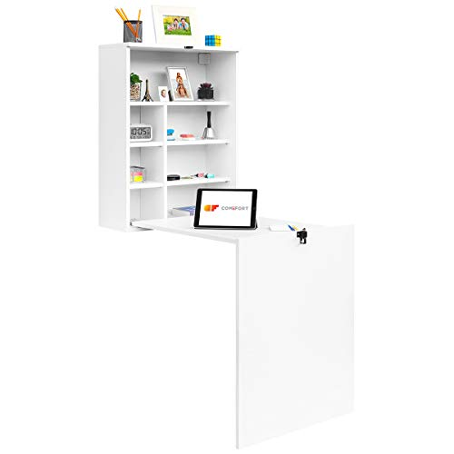 COMIFORT TC82B – Escritorio de Pared Plegable, Mesa Abatible Colgante de Pie Convertidor, Color Blanco o Roble (Blanco)