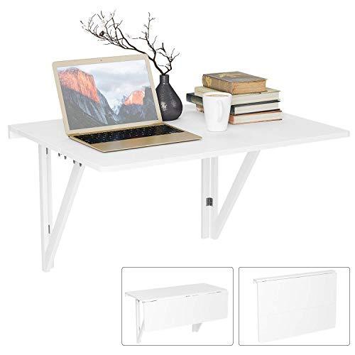 HOMFA 80x60CM Mesa Plegable de Pared Mesa Portátil Mesa para estudio Mesa de comedor Mesa de escritorio Mesa de oficina Blanco