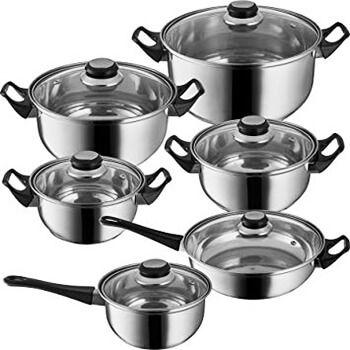 Set de ollas de acero inoxidable de 12 piezas