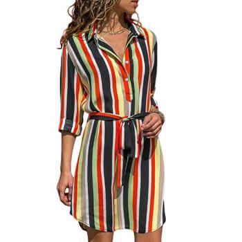 Vestido camisero de rayas en Aliexpress
