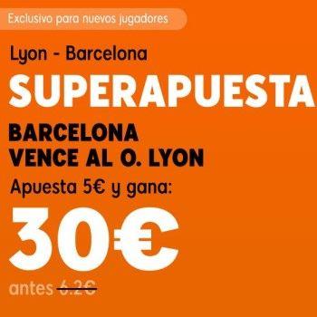 ¡Apuesta 5€ a victoria del Barcelona y gana 30€!