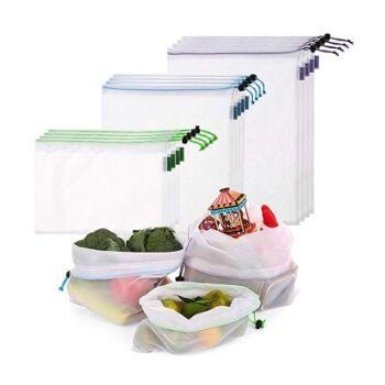 12 bolsas de algodón reutilizables Esonmus por 9,09€ con cupón