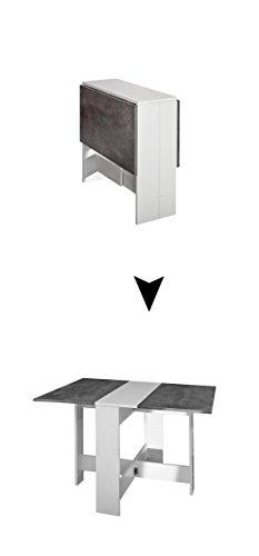 Modern Loft - Mesa Plegable Trick C3, Metal, Rectangular, Blanco y Gris