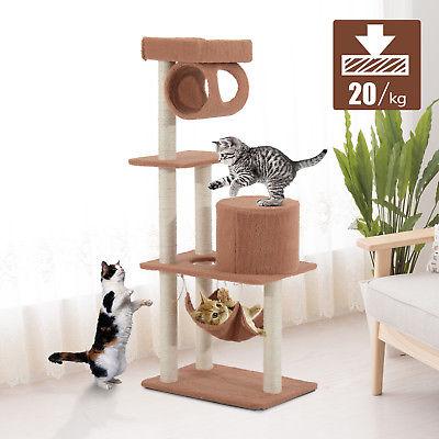 Árbol para gatos Rascador 140cm con Caseta Plataforma Hamaca Tubo de Juego