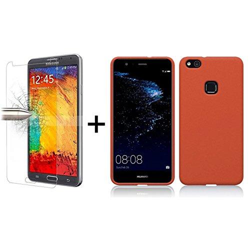 TBOC Pack: Funda de Gel TPU Roja + Protector Pantalla Vidrio Templado para Huawei P10 Lite [5.2 Pulgadas]. Silicona Ultrafina y Flexible. Protector Resistente a Golpes Caídas y Arañazos