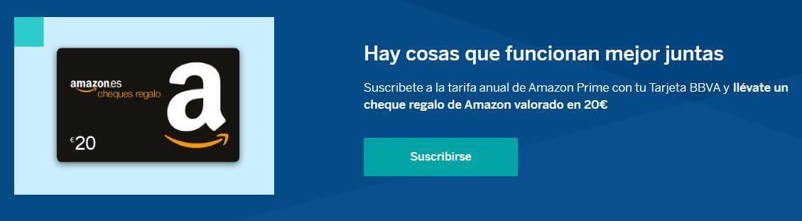Amazon Prime BBVA promoción oferta dinero gratis regalo