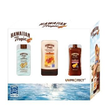 Lote de viaje con 3 cremas solares Hawaiian Tropic por 14,68€ en Amazon