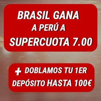 Supercuota Sportium: ¡Brasil gana a Perú a 7.00!