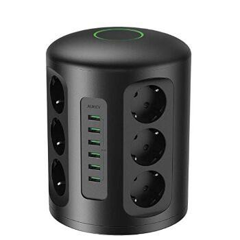 Regleta vertical 12 enchufes y 6 puertos USB Aukey por 39,99€ en Amazon