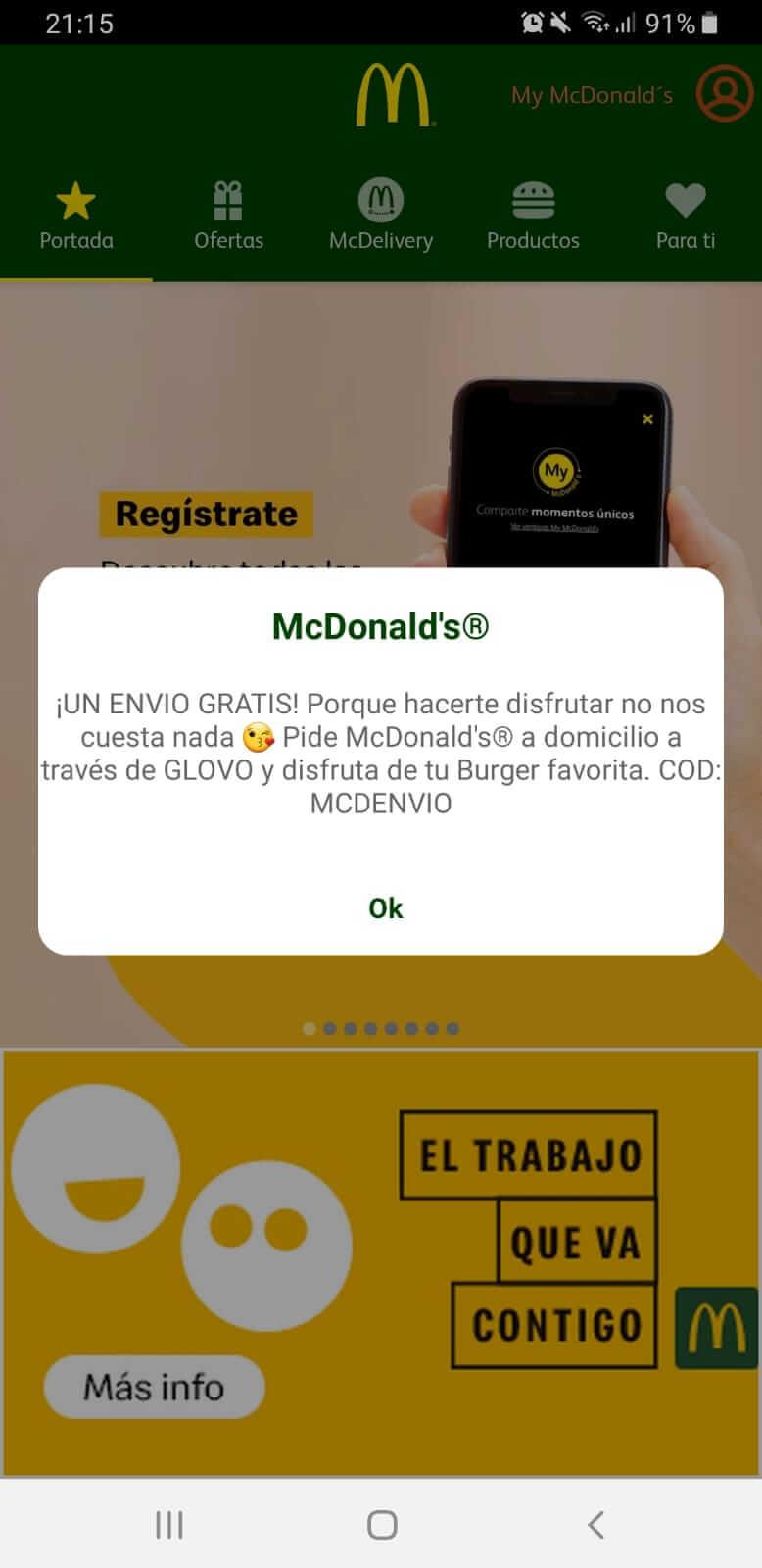 mcdonalds oferta envio gratis