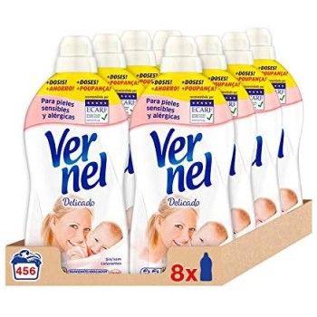 Pack de 8 suavizantes Vernel Delicado para pieles sensibles por 12,54€ en Amazon
