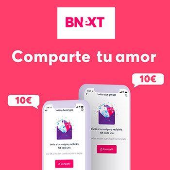 ¡Tarjeta Bnext te regala 5€ GRATIS + 10€ para ti y 10€ para cada amigo tuyo por San Valentín!