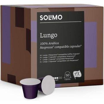 100 cápsulas de café Solimo Lungo por solo 6,94€ en Amazon