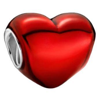 Charm Pandora Corazón Rojo Metálico de plata