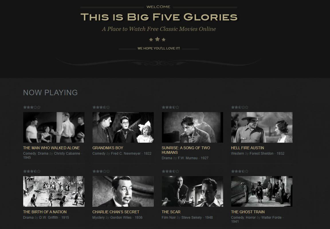 Big Five Glories cine gratis