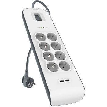 Regleta protectora Belkin con 8 enchufes y 2 puertos USB en oferta por 25€ en Amazon