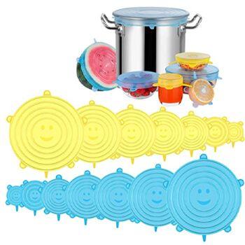 Pack 14 tapas de silicona ajustables para cocina por 7,19€ en Amazon