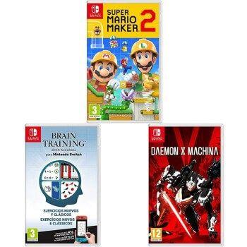 Super Mario Maker 2 + Brain Training + Daemon x Machina