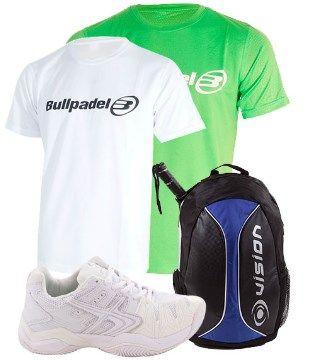 Pack de Padel con zapatillas, camisetas y mochila color blanco