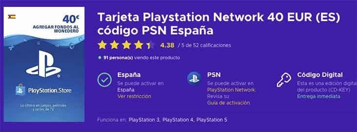 Tarjeta 40€ saldo PSN por 31,82€ en Eneba 2