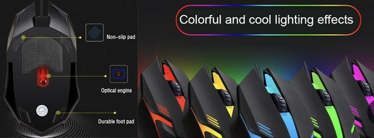 Ratón gaming LED ergonómico a 2,78€ en Wisecart 2